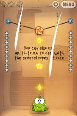 Cut the Rope iPhone Level 1-22, you can also use multi-touch to deal with several ropes at once