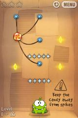 Cut the Rope iPhone Level 1-16, keep the candy away from the spikes