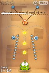 Cut the Rope iPhone Level 1-20, you can cut several ropes at once