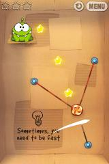 Cut the Rope iPhone Level 1-24 sometimes you need to be fast, stretched ropes get red