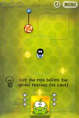 Cut the Rope iPhone Level 2-9, cut the rope before the spider reaches the candy