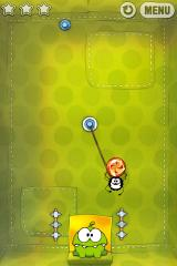 Cut the Rope iPhone Level 2-9, the spider grabs the candy and gleefully escapes