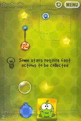 Cut the Rope iPhone Level 2-17, some stars require fast actions to be collected, the top left star will disappear when the yellow arc closes up