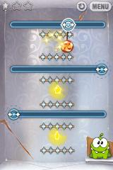 Cut the Rope iPhone Level 3-6, move the rope hooks slowly or the candy will hit the spikes