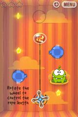 Cut the Rope iPhone Level 4-1, rotate the wheel to control rope length