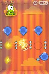 Cut the Rope iPhone Level 4-6, gently blow the bubble past the spikes