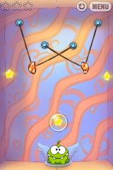 Cut the Rope iPhone Level 6-4, nothing says Valentine's Day like playing with ropes (wait, that didn't sound right)