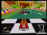 Crash Bandicoot Nitro Kart 3D Zeebo Starting a new race. The screen displays at the bottom left your place and the lap counter. At the upper right the race time and Wumpa fruit counter. At the bottom right, the track map.