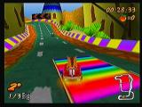 Crash Bandicoot Nitro Kart 3D Zeebo Running over those rainbow colored strips gives you a boost.