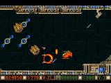 Blood Money Amiga Planet 1, rotating barriers and missile turrets