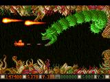 Blood Money Amiga Planet 2, the second planetary guardians are three gaint snakes (teal, green and red)