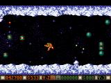 Blood Money Amiga Planet 3, flying through an icy planet as a little jetpack man