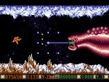 Blood Money Amiga Planet 3, the third planetary guardian is the easiest, first shoot the blobs on its back
