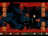 Blood Money Amiga Planet 4, shoot gaps in the formation or you will get trapped between them