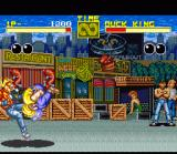 Fatal Fury SNES Round 1: Duck King attacks with a move remniscent of Blanka from Street Fighter 2