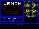 Venom ZX Spectrum This is the game's title screen. The available commands can be seen on the right