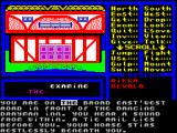 Venom ZX Spectrum The EXAMINE command has been selected and now appears in the window below the picture. The game then allows the player to scroll through the text to select an object or person to examine.