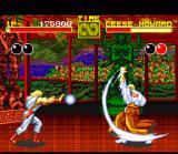 Fatal Fury SNES Geese Howard and Andy Bogard launching projectiles against each other