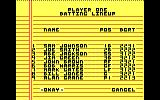 Championship Baseball DOS Set up your team (Tandy/PCjr)