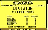 Championship Baseball DOS The division standings (CGA with RGB monitor)