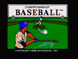 Championship Baseball DOS Title screen 1 (CGA with composite monitor)