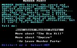 Make Your Own Murder Party DOS The main menu