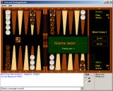 Microsoft Windows XP (included games) Windows Backgammon pop-up shown after winning game.