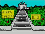 Africa Gardens ZX Spectrum This picture is displayed at the star of the game when loading is nearly complete. It doesn't look creepy does it, perhaps it will be OK to stay here