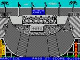 Skate or Die ZX Spectrum This is the freestyle section. By hitting keys as the character builds up speed the player can perform trick moves and score points