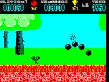 Hoppin' Mad ZX Spectrum The lead ball hit a crow. Goodbye crow. Also goodbye ball, it will fragment as it bounces and will finally disappear