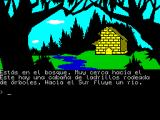 La Aventura Original ZX Spectrum This is a brick cabin surrounded by trees. To the south a rive flows. Time passes. They do not return.