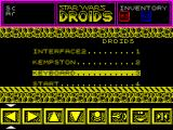 Star Wars: Droids ZX Spectrum The main menu. Here the player selects their controller preference