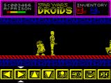 Star Wars: Droids ZX Spectrum The player must select the appropriate icon from the bottom of the screen, move left, move right, up, down, fire etc and then press the FIRE key. The droids will stop moving once the key is released