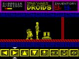 Star Wars: Droids ZX Spectrum The TV screens show the current level. The red wall is a lift and a puzzle must be solved before it can be used