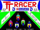 TT Racer ZX Spectrum The game's title screen.