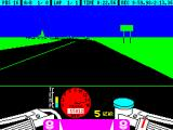 TT Racer ZX Spectrum Approaching a left hand bend. The entire course is very very flat so its important to look out for scenery clues that a bend is nearby