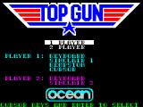 Top Gun ZX Spectrum This is the game's menu. The player uses the arrow keys to select either the 1 or 2 player option, then presses Enter. Only then are they asked to use the arrow keys to select their controller