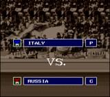 Kick Off 2 SNES The match-up screen