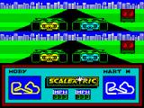 Scalextric: The Computer Edition ZX Spectrum A few more questions later, after choosing the computer players skill level and saving (or not saving) the track and we're on the gris waiting for the green light