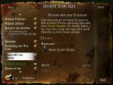 DeathSpank Windows Quest Log Screen - Lists main quests, sub-quests, and completed quests -- many written in a humorous tone. Hints may be unlocked here if the player has sufficient fortune cookings.