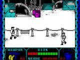 Shanghai Warriors ZX Spectrum The start of the game. The player's character is the tough guy on the right. The first opponent comes on from the left