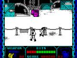 Shanghai Warriors ZX Spectrum Here the bad guy is leaping away! The backgrounds are well drawn and all game play is confined to the bottom corner of the screen.