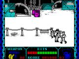 Shanghai Warriors ZX Spectrum Screen 2 with some leaping baddies and a guy just waiting to be hit