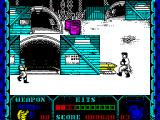 Shanghai Warriors ZX Spectrum This is screen seven or eight. The game has settled to a standard four bad guys to a screen by this time. This is as far 'up' the screen as the character will go