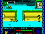 Shanghai Warriors ZX Spectrum A scene from the second level - the army base. The game has not changed, still the same two types of bad guy