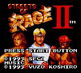 Streets of Rage 2 Game Gear Title Screen
