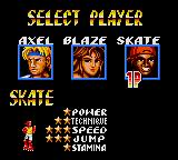 Streets of Rage 2 Game Gear Choose a player