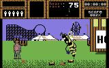 Weird Dreams Commodore 64 Level 2: Encounter a giant wasp at the amusement park. I hope you have collected enough sugar in the previous level!
