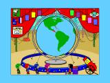 Yearn2Learn: Master Snoopy's World Geography Windows 3.x A couple of questions later and the player must help Patti locate Panama. In this screen the game is giving a hint by showing the correct region before the globe starts to spin. It's not a big target