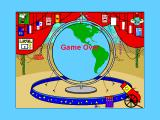 Yearn2Learn: Master Snoopy's World Geography Windows 3.x After ten countries all the flag positions are filled and the level is over. The flags with sad faces on them are countries that were not found.